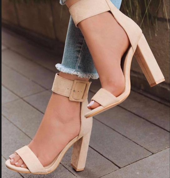 Sandália Clássica,tira Grossa,salto 9cm , Várias Cores