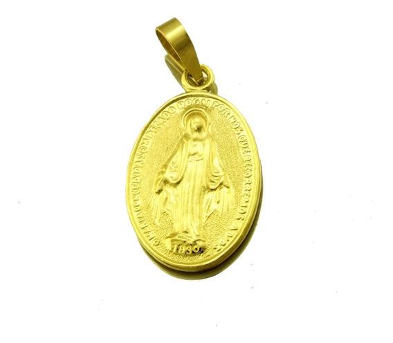 Pingente Nossa Senhora Da Medalha Em Ouro 750 18k J20837
