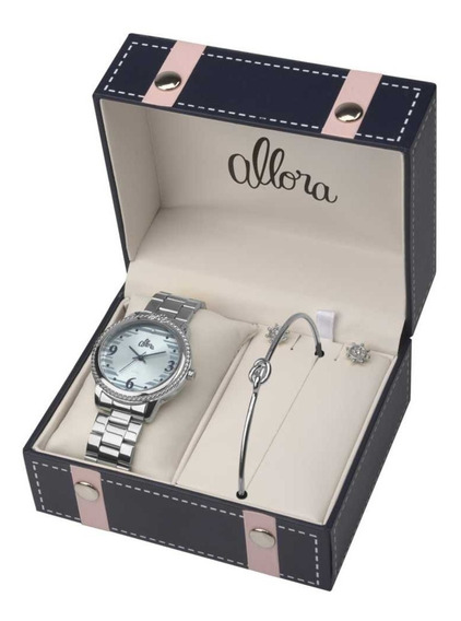 Kit Relógio Feminino Pulseira E Brincos Allora Al2035fkr/k3a