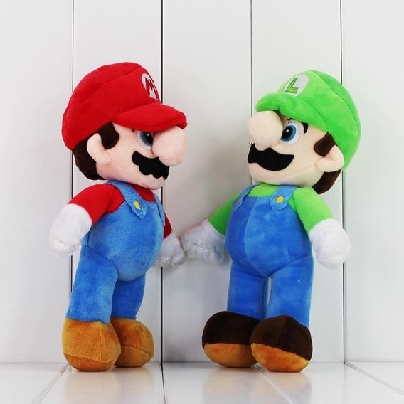 Pelucia Super Mario Bross E Luigi Musical 30cm E Balão Mario