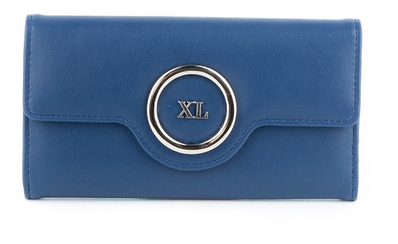 Billetera C/ Solapa Mujer Xl Extra Large Nora Azul