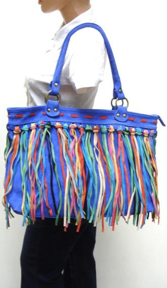 Cartera Artesanal Legitima Gamuza Azul Flecos (ana.mar)