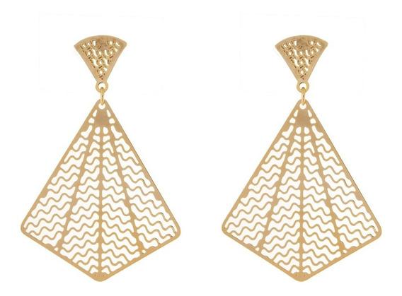 Brinco Dourado Triangular Delicado Festa Casamento