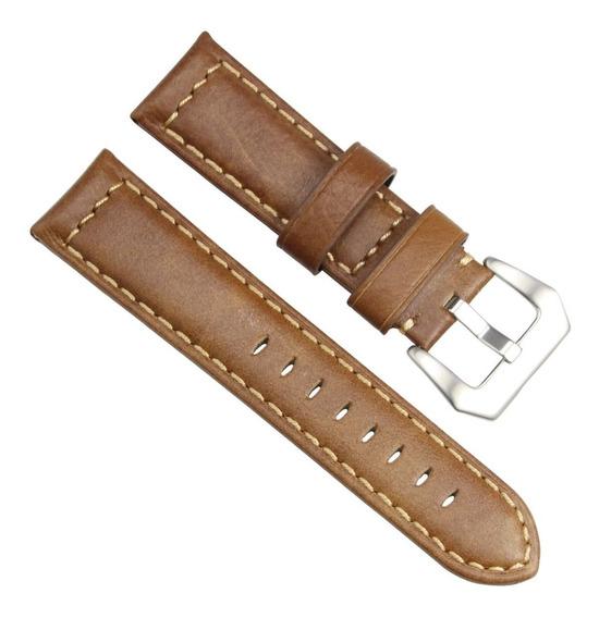 Pulseira Para Relógio 20mm Couro Genuíno Marrom Vintage