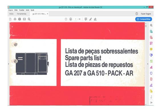 Manual De Serviço Atlas Copco Catálogo Lista De Peças Ga510