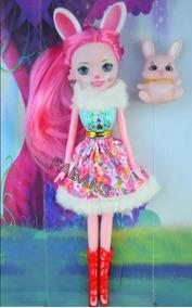 Muñeca Enchantimals Con Mascota Barbie Juguetes Niña