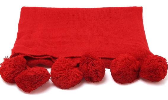 Bufanda Pashmina Mujer Pompones (consultar Colores)