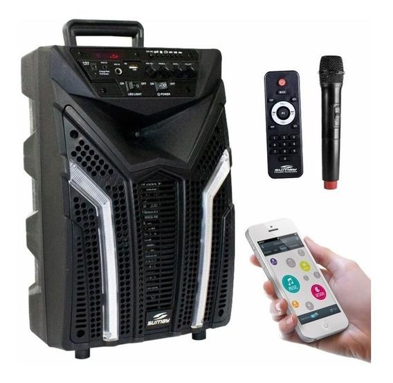 Caixa De Som Sem Fio Amplificada Elegance 100w Rms Usb Fm P10 Bluetooth Sdcard Guitarra Karaoke Auxiliar Microfone