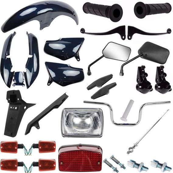 Kit Carenagem Com Guidao Pisca Cg 125 Titan 98/99 Azul Metal