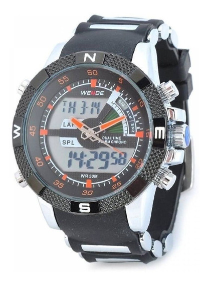 Relógio Weide Anadigi Esporte Wh-1104 Preto Laranja