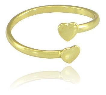 Anel Mini Coração Ajustável Folheado A Ouro