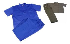 Conjunto Calça Camisa Brim Azul Ou Cinza Uniforme Dgmaster