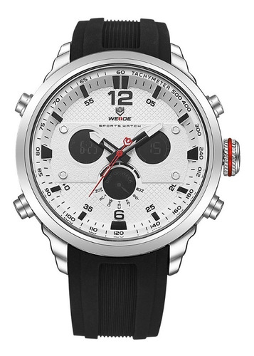 Relógio Masculino Weide Anadigi Wh-6303 - Preto Prata Branco