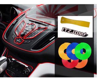 Moldura Auto Roja 4 Mtrs A Presión + Espatula Itz Tuning