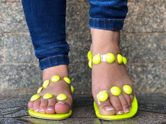 Rasteirinha Feminina Bolinha Amarelo Neon Rasteira Verão
