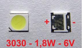 Kit 40 Chip Super Power Led 1,8w 6v 3030 Branco Frio M.e