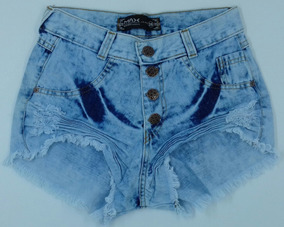 Shorts Jeans Feminino Hot Pant Cintura Alta Destroyed Anitta