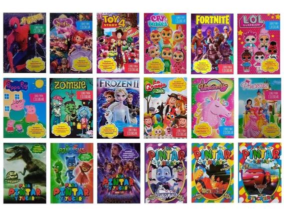 30 Libros P/ Colorear 16 Páginas + Plancha Stickers A Pintar