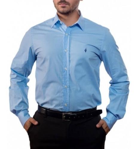 Camisa Social Lisa: Azul - Blu Chiaro Liscio