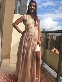 Vestido Longo De Festa Feminino Renda Dourada Nude Tam M