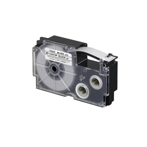 Imagen 1 de 5 de Cinta Para Rotulador Casio Xr-12gcsr 12mmx8m Negro/plateado