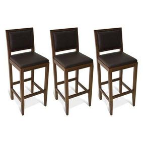Trio Banqueta Tapeçada Madeira Maciça Jequitibá Mel Estofado