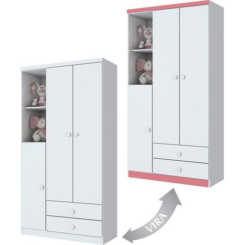 Guarda-roupa Henn Bala De Menta - Branco/rosa - 181x91x47cm