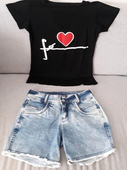 Conjunto Jeans Shorts 36 Bermuda + Blusa Blusinha Mulher