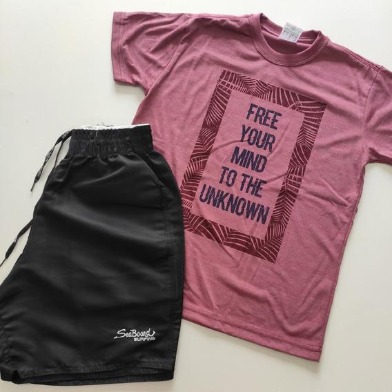 Kit 4 Conjuntos Verão Meninos Bermudas Camisetas Juvenis