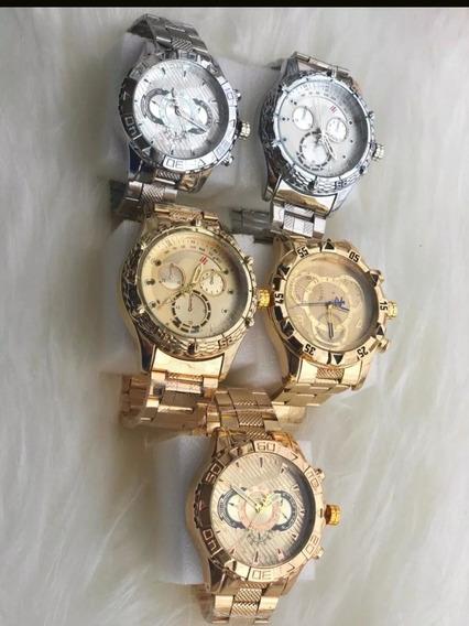 2 Relógios Aço Inoxidável Dourado/prata Ambos Gêneros