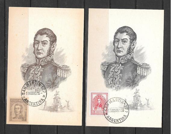 Argentina Decada 30 Dos Postales Filatelicas San Martin