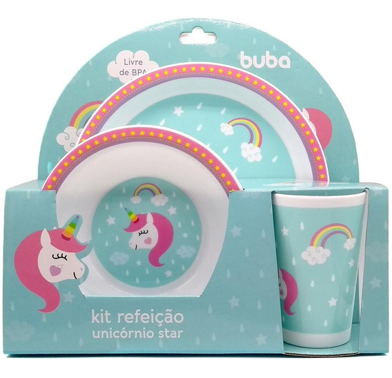 7533 - Kit Refeição Unicórnio Star Buba Toys Girl