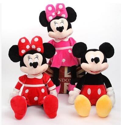 3 Boneca De Pelucia, Mickey Minnie Laço Rosa E Mine Vermelha