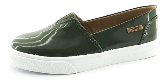 Tênis Slip On Quality Shoes Feminino 002 Verniz Verde Milita