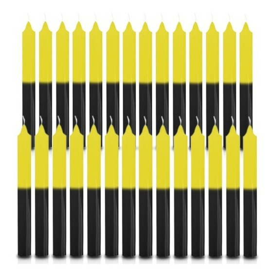 Vela Quilo Palito Amarelo E Preto 1 Kg 28 Velas Coloridas