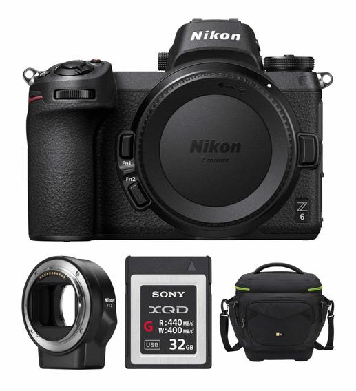 Nikon Z6 Mirrorless Camera, Adaptador Ftz, Xqd 32gb E Case