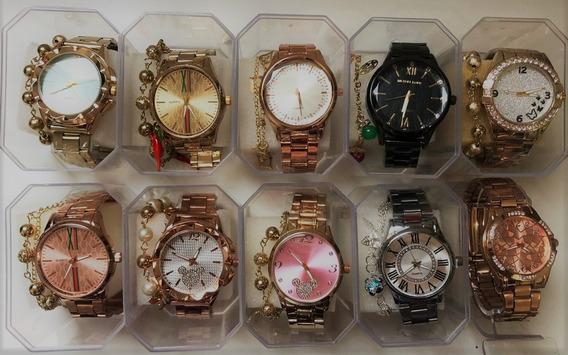 10 Relógio Feminino Aço Caixas Acrilico Pulseiras Revenda 02