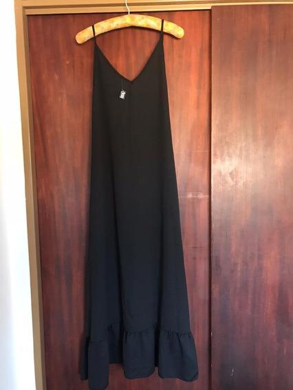 Vestido Negro Largo Tiritas Y Volados