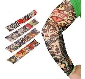 4 Manguito Protetores Braço Segunda Pele Tatuagem Falsa Moto