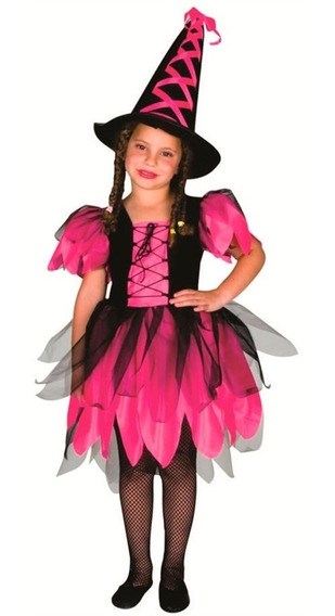Fantasia Halloween Feminino Infantil Completa Bruxa C/chápeu