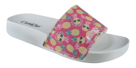 Sandália Slide Capricho Abacaxi Cp3079 | Katy Calçados