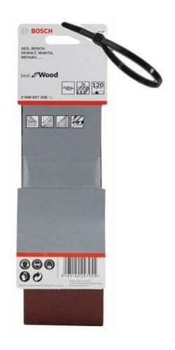 Imagen 1 de 8 de Set 3 Lijas De Banda 75x533 Grano 120 Bosch Lijadora + Reg