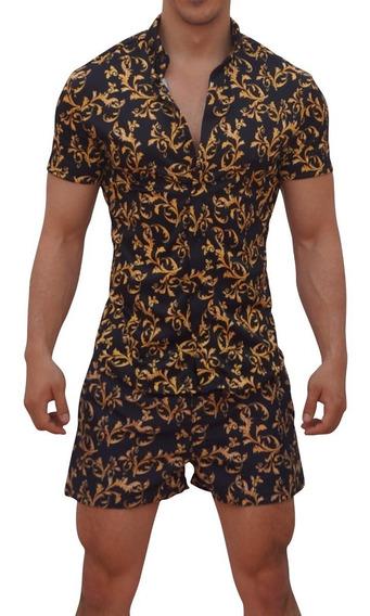 Camisa Barroque Manga Corta John Leopard Slim Fit Envio Grat