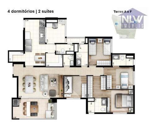 Apartamento Com 4 Dormitórios À Venda, 128 M² Por R$ 986.432,00 - Vila Suzana - São Paulo/sp - Ap0226