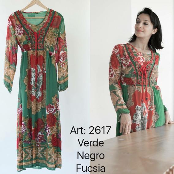 Vestido De Gasa Hippie Style Escote Bordado 2617