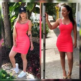 0ca915154 Vestido Regata Canelado Sem Bojo Curto Instagram + Brinde68