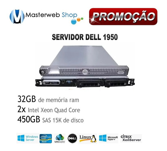 Servidor 1950 Dell Poweredge - 32gb - 2x Quad - 450 Gb Sas