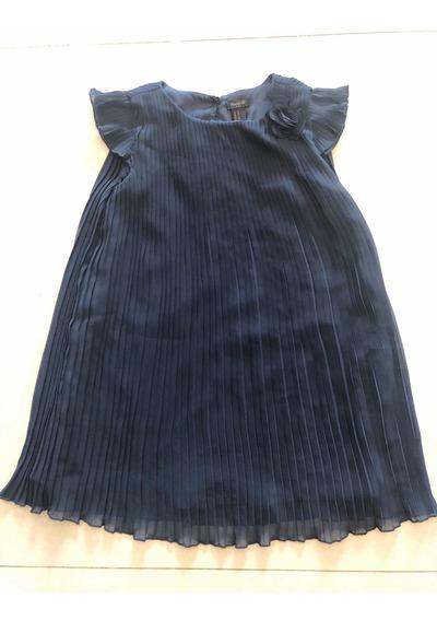 Vestido Forever21 Nena Plisado Talle 8 Azul