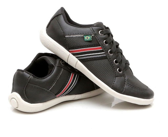 Tenis Sapatênis Infantil Couro Ecológico Sapato Masculino
