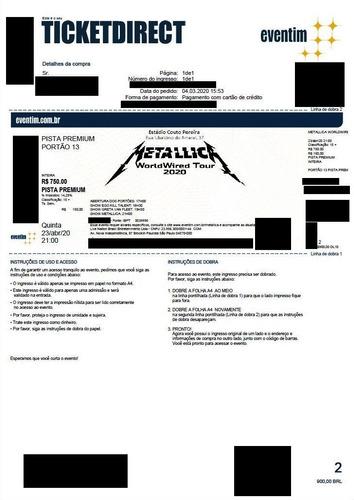Ingresso Show Metallica Worldwired Tour 2020 - Curitiba - Pr